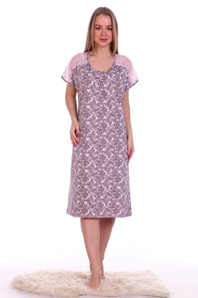 Ночная сорочка Кружевница, тёмно-розовая