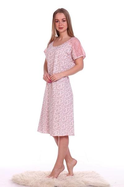 Ночная сорочка Кружевница, розовая