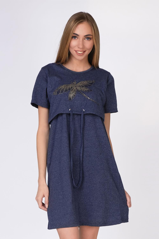 Ночная сорочка Золотая стрекоза, Темно-синяя